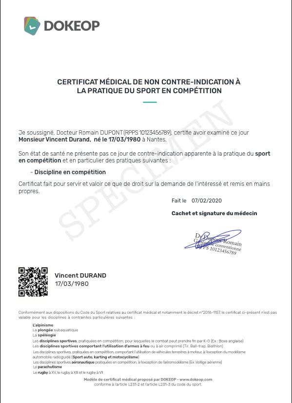 Specimen certificat